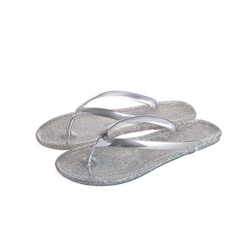 5f535d31f 2018 Women Flip Flops Beach Flippers Fashion Bling Slippers Summer Women  Flats Shoes Woman Flat Flippers