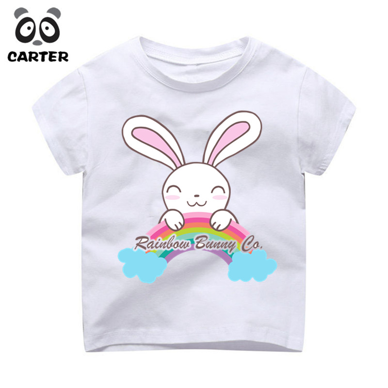 Boy/Girl Cartoon Funny Design Rainbow Rabbits T shirts Kid Summer O Neck White Tshirt Children Animal Tops