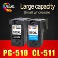 2 pcs pg510 cl511 cartucho de tinta para canon pg 510 cl 511 para impressoras Pixma IP2700 MP240 MP250 MP260 MP270 MP280 MP480 MP490