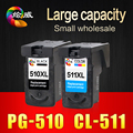 2Pcs PG510 CL511 Ink Cartridge  for Canon  PG 510 CL 511  for  Pixma MP240 MP250 MP260 MP270 MP280 MP480 MP490 IP2700 printers