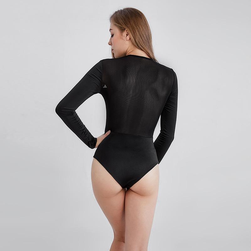 66c5b73c2b7 Sexy Mesh V neck Bodysuit Leotard Women Jumpsuit One Piece T-shirt Blouse  Female Body Suit Top