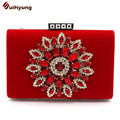 2016 New Women's Velvet Clutch Fine Diamond Flower Evening Bag Wedding Party Bridal Handbag Wallet Ladies Chain Shoulder Bag