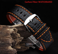 Wholesale Carbon Fiber strap Hide the underlying Watchbands orange line Band light soft straps 20mm 22mm male watch Accessories