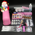 BTT-89 Pro Nail Art UV Gel Kits Tools Pink UV lamp Brush Tips Glue Acrylic Powder Set