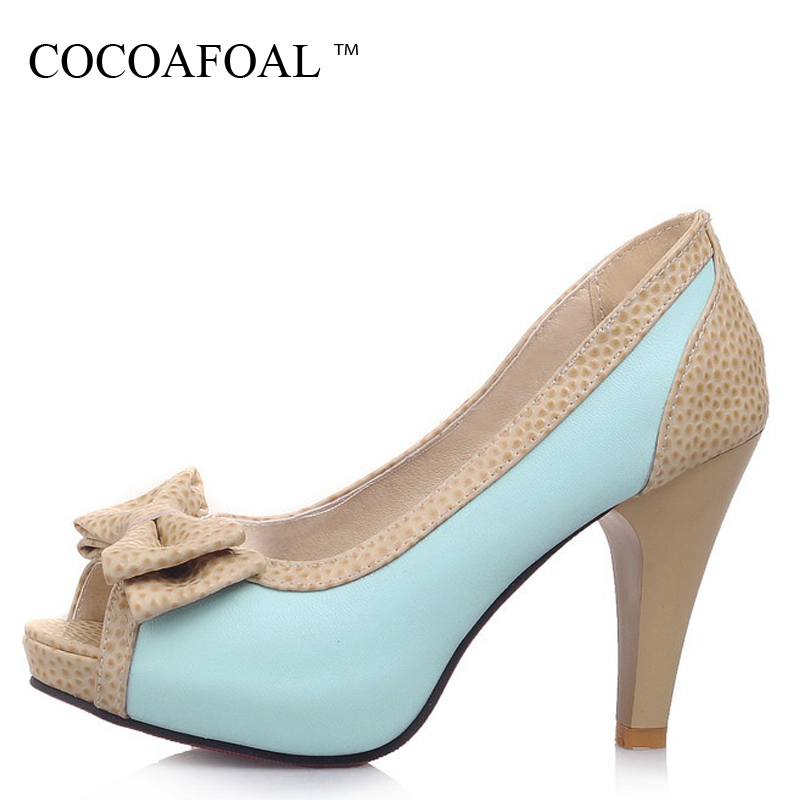 COCOAFOAL Woman Peep Toe Pumps Fashion Sexy High Heels Shoes Plus Size 32 - 45 Blue Beige Pink Butterfly Knot Pumps 2018 keaiqianjin woman butterfly knot genuine leather pumps plus size 33 43 blue high heels shoes spring square toe wedding pumps