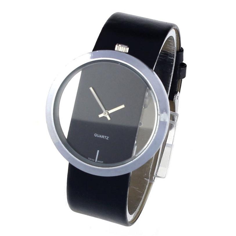 Superior de las nuevas mujeres de cuero de la PU esfera transparente reloj de pulsera de cuarzo analógico hueco Relogio masculino caliente 2017 recién diseñado