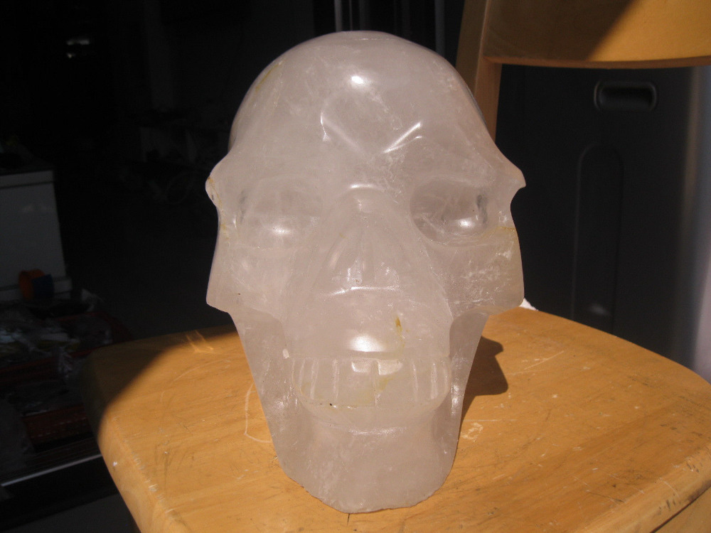 Xd J00879  HUGE NATURAL WHITE CLEAR QUARTZ CRYSTAL SKULL CARVED From China