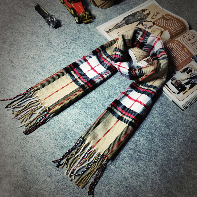 Winter Men Women Scottish Plaid Scarf font b tartan b font Cozy Warm Long Echarpe Tassel