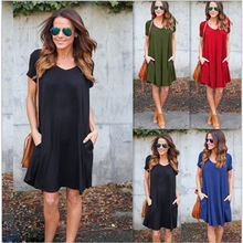 S-2XL women new v neck short sleeve mini dress summer casual leisure