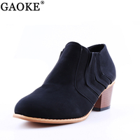 Autumn And Winter Short Cylinder Boots With High Heels Boots Shoes Martin Boots Women Ankle Boots