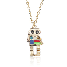 Fashion Anime Colorful 3D Robot Necklace Hip Hop Mechanic Charm Necklaces Gold Chain Choker Jewelry For Women Men Gift trendy female 12 constellation pendant necklace charm gold chain zodiac sign choker necklaces for women men collar jewelry gift