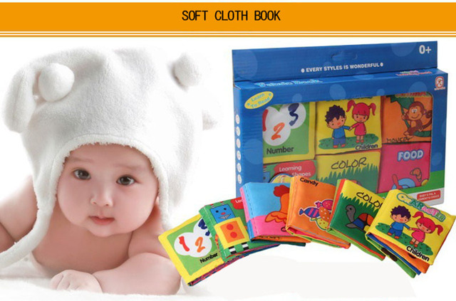 Newborn cartoon sound papper infant toys Car Vegetables Fruits Math Animal soft cloth books baby Learning enlighten story book 3