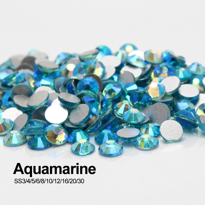 Aquamarine AB SS3-SS30 Nail art Rhinestones Non Hotfix Stones Round Glass Nail art free shipping