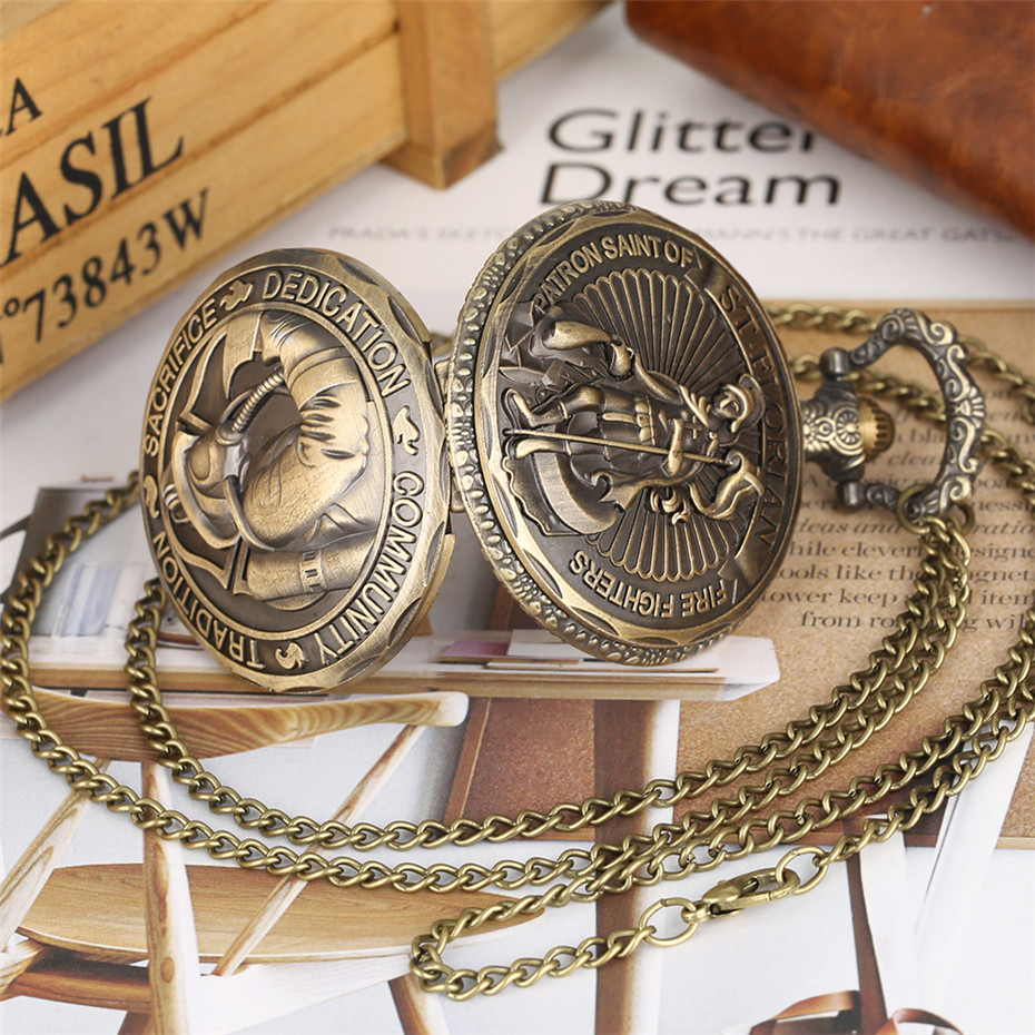 Bronze Fire Fighter Display Quartz Pocket Watch Fob Chain Exquisite Embossed Design Necklace Pendant Steampunk Souvenir Clock