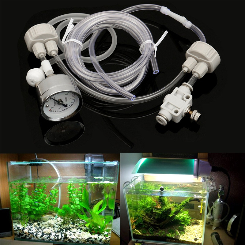 Aquarium diy co2 generator system kit with pressure air for Co2 fish tank