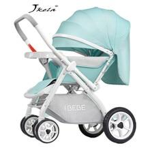 лучшая цена 2019Multifunctional 3 in 1 Baby Stroller High Landscape Stroller Folding Carriage bebek arabasi lie or damping folding light