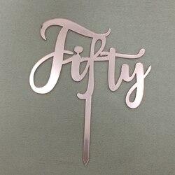 5 шт. пятидесяти букв, розовое золото, акриловый флаг, 50-й день рождения, торт, Топпер