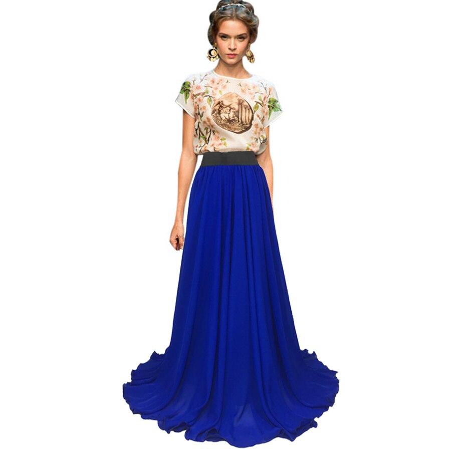 EdspLovd 8 м подол плюс Размеры Королевский синий юбка Для женщин макси-юбка из шифона Повседневное длина в пол однотонное Цвет A35