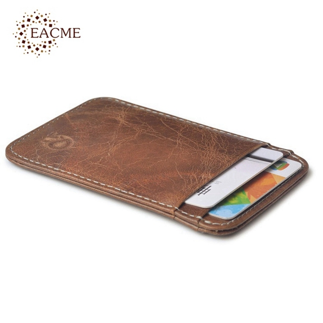 100% Real Leather Convenient ID Pocket Card Holder