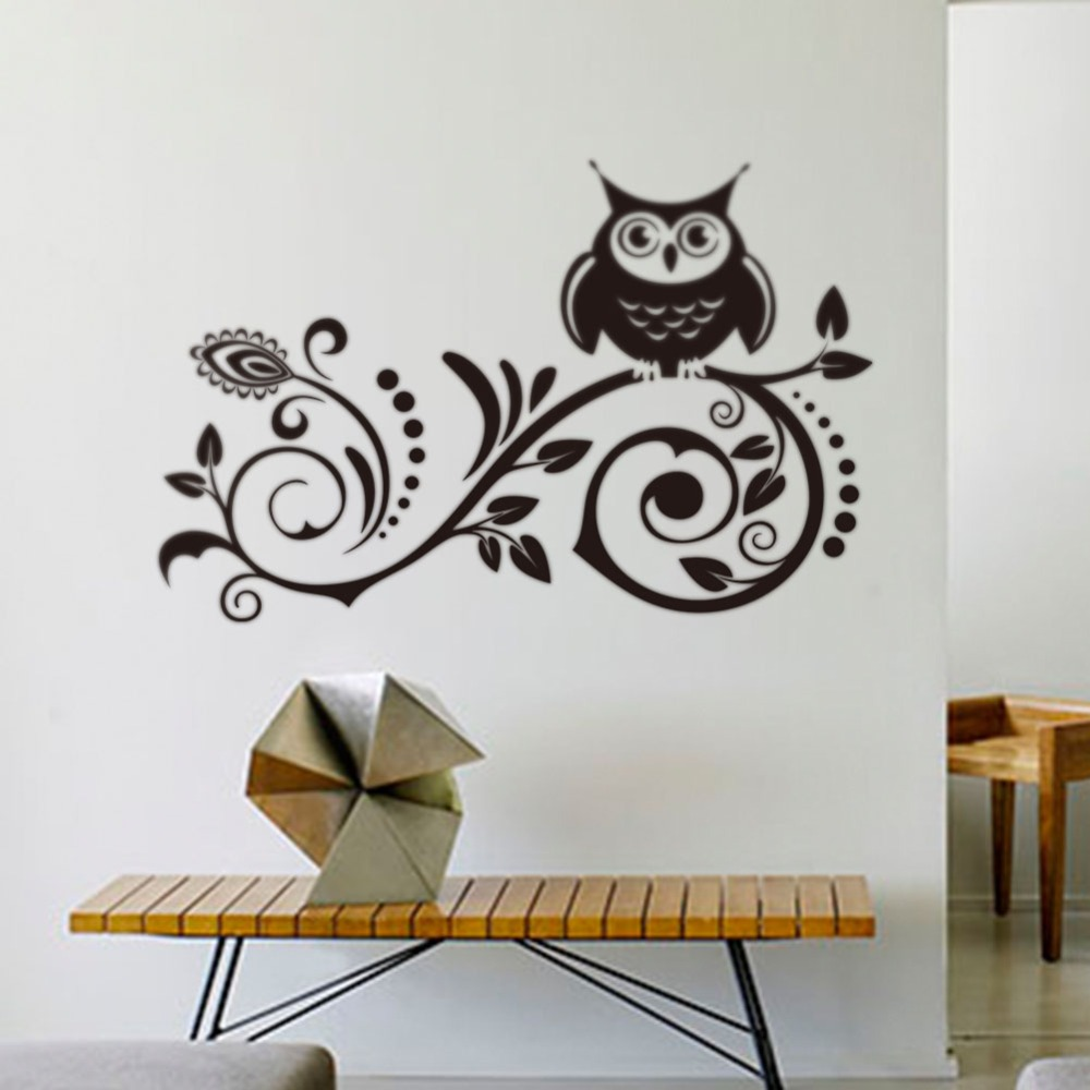 Wild birch forest with owls vinyl wall decal - 8239 Creative Black Owl Bird Tree 90x58cm Removable Vinyl Decal Wall Sticker Art Kid Room
