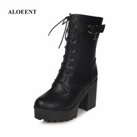 ALOEENT Women Martin Boots Winter Warm Shoes Female Motorcycle Ankle Fashion Boots Women Botas