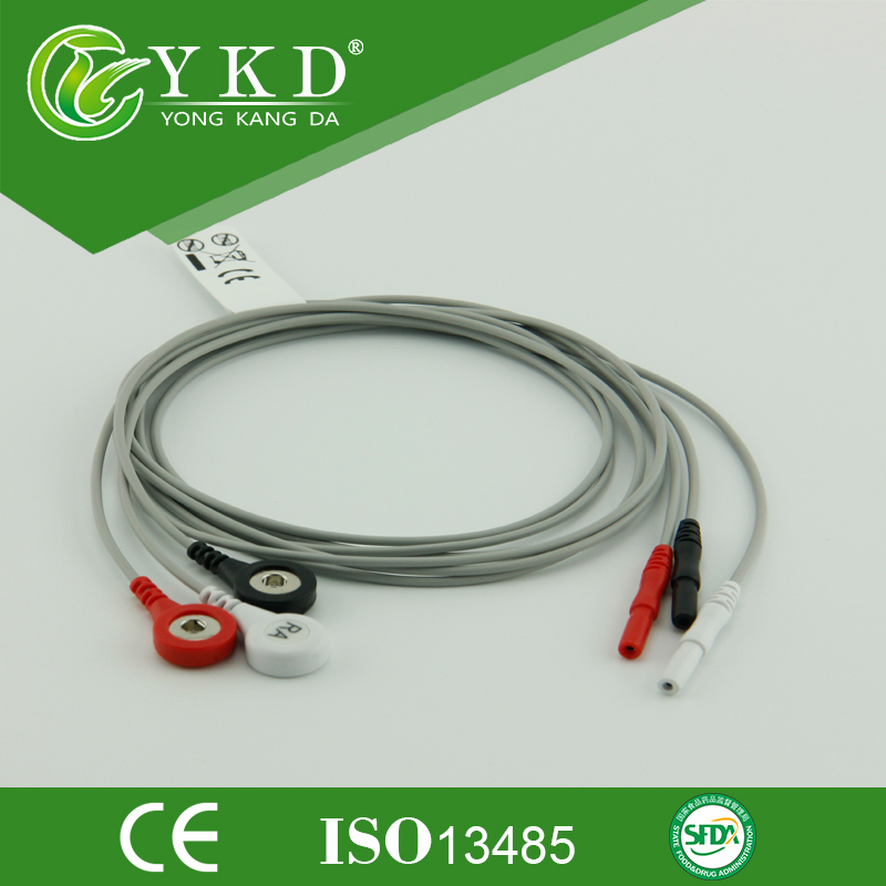 Din 1.5 Snap Shielded ECG Holter Leadwire Set,3 Lead.AHA,snap For Nihon Kohden