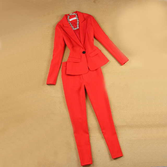 new style high-quality brand women's 2-piece women's business suit pants suit OL formal business suit long sleeve + trousers