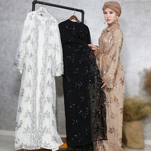 Muslim luxury embroidered sequins lace seamless cardigan pearl belt accessories womens outer skirt free shipping