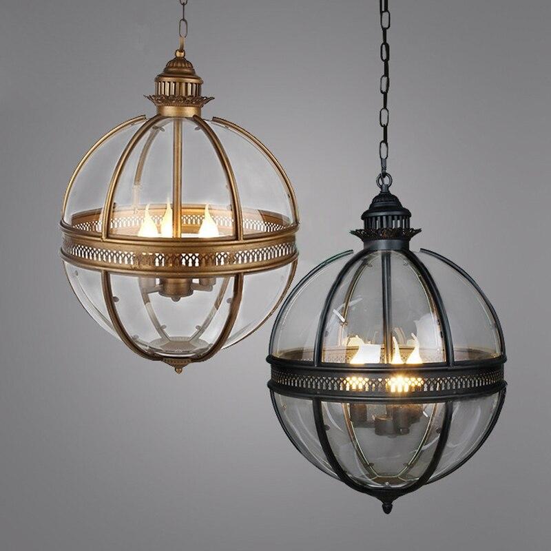 American Vintage Globe Lustres 3 Lumières E12 E14 Transparent Verre Métal Peinture Loft Lustres pour Salon Salle À Manger