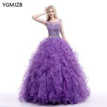 Vestidos Quinceanera vestido de Baile de luxo Frisada Ilusão De Cristal Ruffles Em Camadas Doce 16 Vestido de Debutante Vestidos De 15 Años