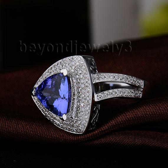 Or 14Kt Opale NOIRE /& Diamant Trillion Bague