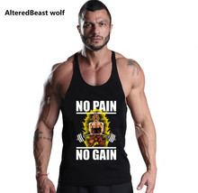2017Brand Mens tank tops Gyms Vegeta Goku Saiyan cotton Fitness Muscle Stringer Mens gyms Tank TopsBodybuilding gyms Clothing