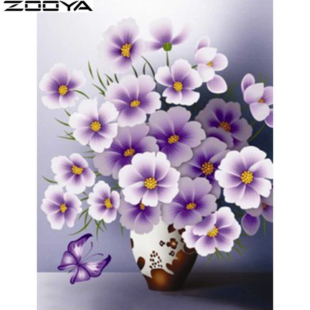 ZOOYA New 5D diamond embroidery flower diy Diamond painting lilac Animal butterfly Mosaic sale Fashion home art deco F1053