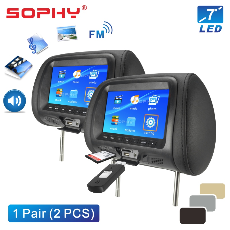 2PCS 7 Inch Auto Kopfstütze Monitor FÜHRTE Digitalen Bildschirm Kissen Monitor mit MP4 MP5 Player USB SD Hinten Sitz unterhaltung SH7048-P5