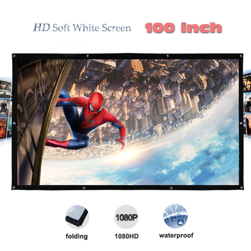 Yovanxer High Brightness 100 inches Projector Screen pantalla proyeccion HD Portable Projection Screens fast free shipping hd projector projection screen 300inch 16 9 format outdoor fast folding frame screens for camping music party