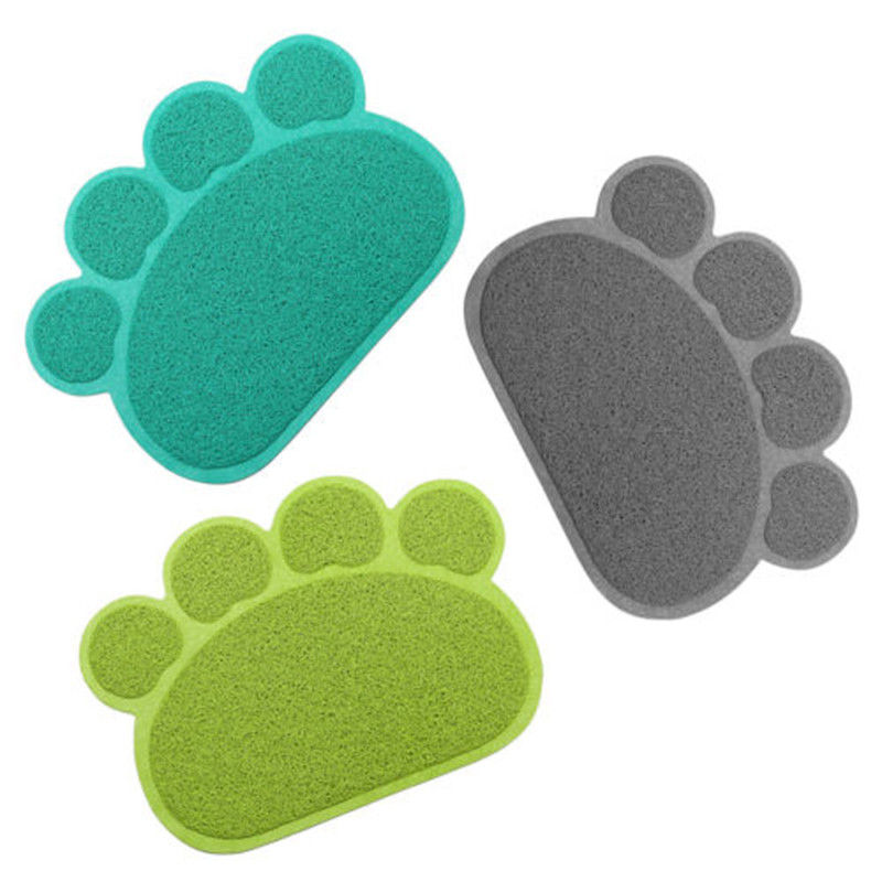 CHICDDOG 30x40cm PVC Dog Paw Shape Cup Pet Dog Puppy Cat Feeding Mat Pad Bed Dish Bowl Food Water Feed Placemat Dog Supplies