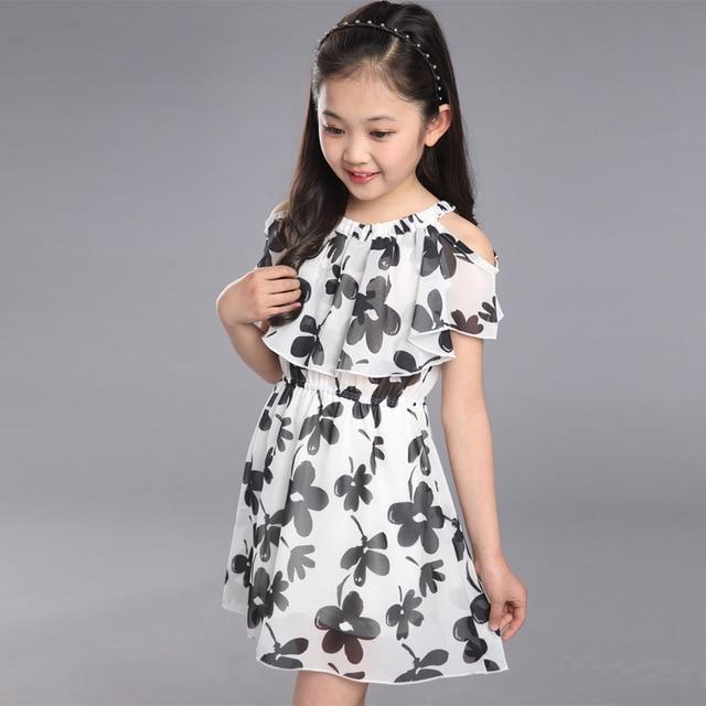02b937eed طفل الفتيات اللباس الصيف 2018 أزياء الأطفال الملابس الاطفال زهرة اللباس  الشيفون الأميرة زي Vestidos 8