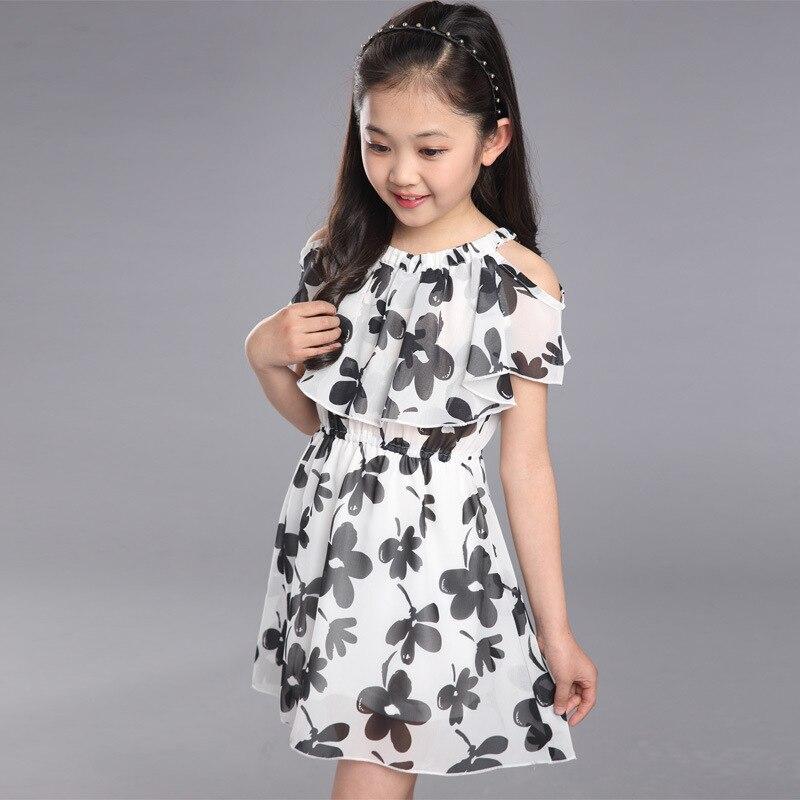 fa24089cc € 7.4 25% de DESCUENTO|Vestido de niñas de verano 2018 ropa de moda para  niños vestido de flores para niños Vestidos de princesa de gasa 8 9 10 ...