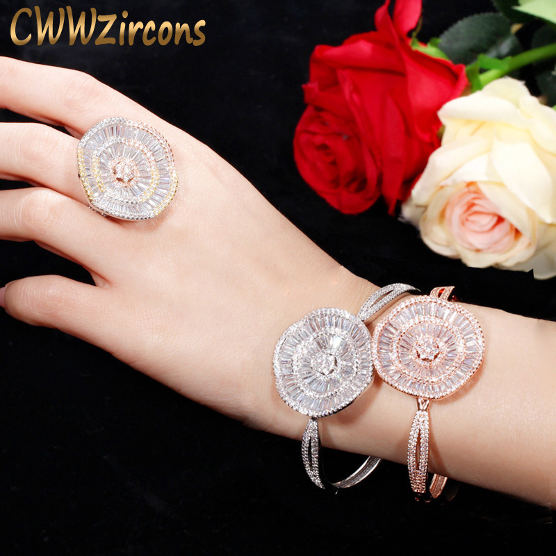 CWWZircons Dubai Rose Gold Color Big Wide Open Cuff CZ Bangle Ring Sets Wedding Party Jewelry Accessories T336