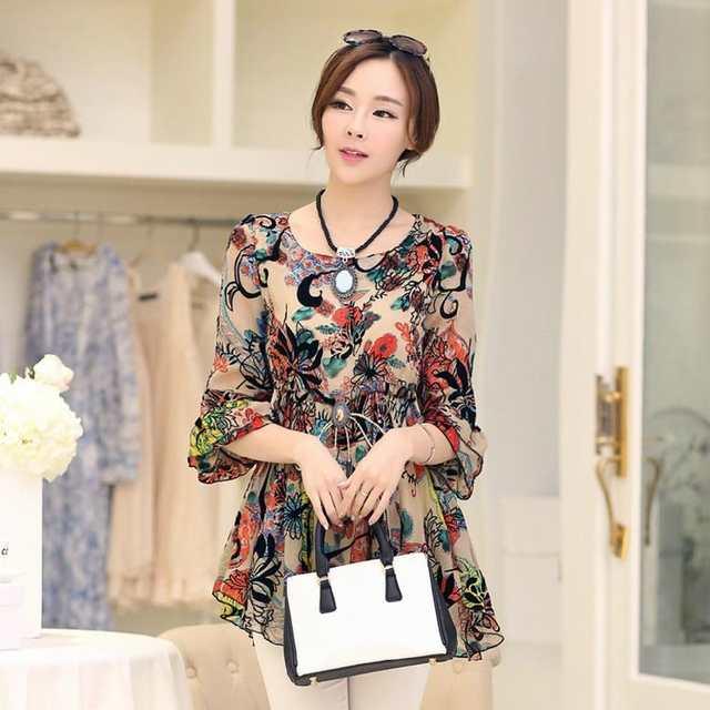 b39c5201b NIFULLAN Women Blouses Long Half Sleeve Chiffon Blusas Top Plus Size Blusa  Renda Top Tunic Female