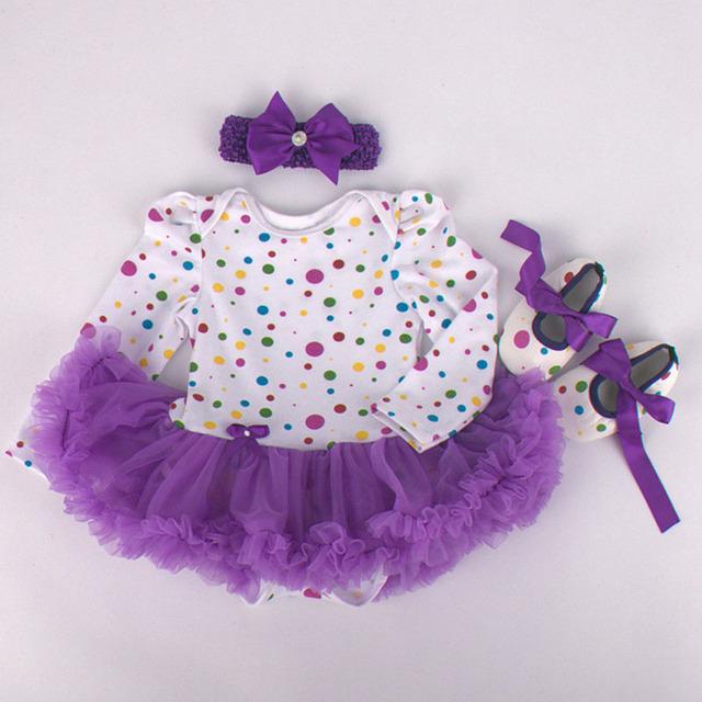 3 Unids por Juego Infantil Mameluco Tul Púrpura Lunares Bebé chicas Manga Larga Vestido Del Tutú Venda Zapato para 0-12months Envío gratis
