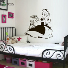 YOYOYU Wall Decal Alice in Wonderland Vinyl Stickers For Kids Rooms Removable Rabbit Cat Art Mural Interior Home DecorCY775