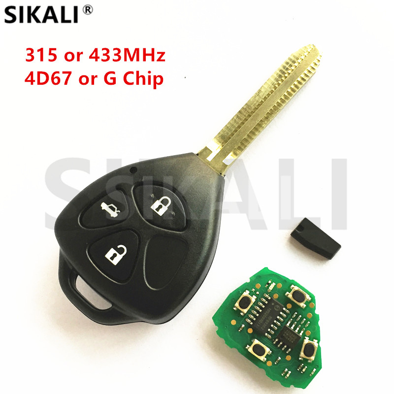 SIKALI Car Remote Key for Toyota Camry Corolla Prado RAV4 Vios Hilux Yaris 3 Buttons Vehicle Lock Control with TOY43 Blade