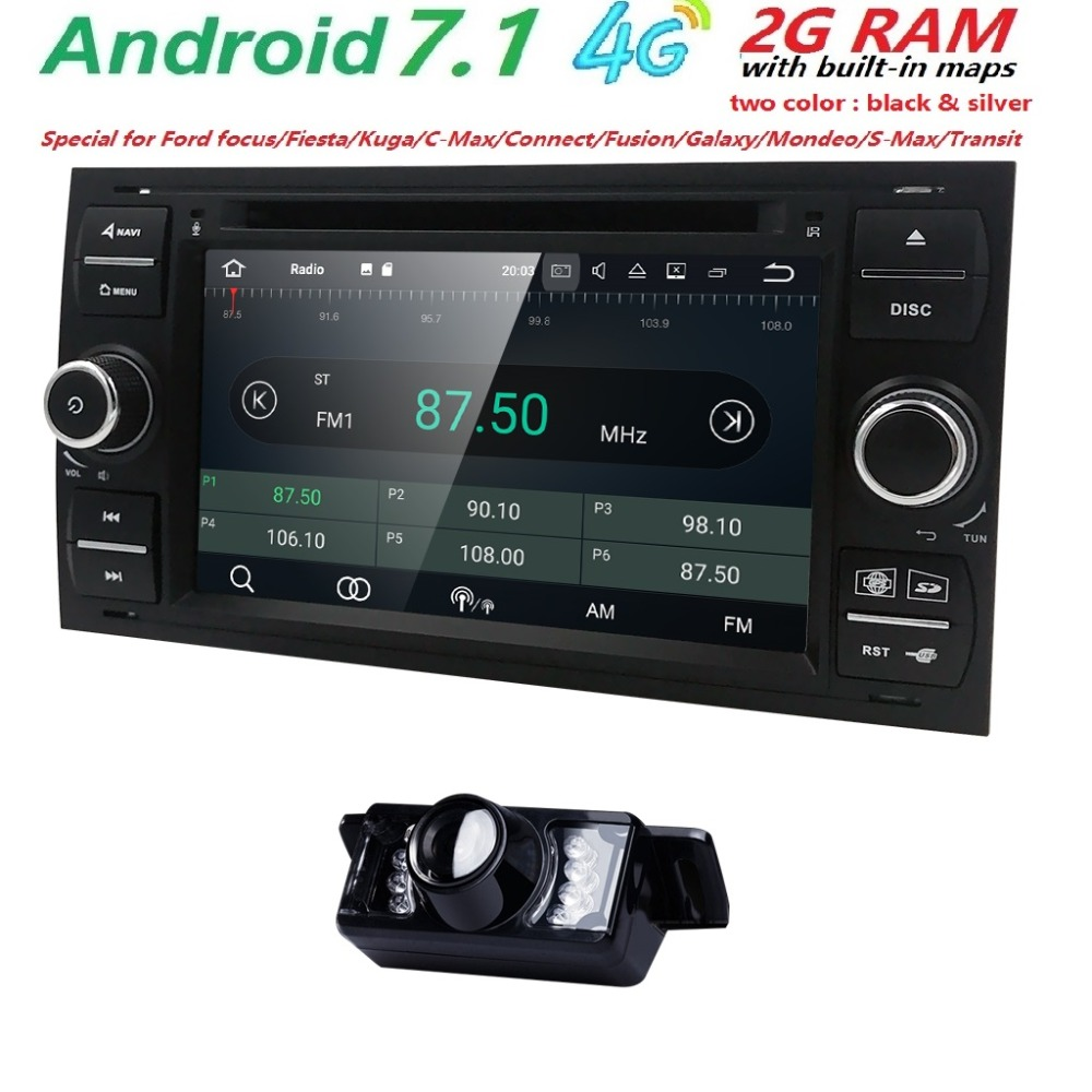 AutoRadio 2 din Android 7.1 Car DVD Multimedia Player For Ford Focus 2 3 Mondeo S C Max Fiesta Galaxy Car Audio Wifi Quad Core