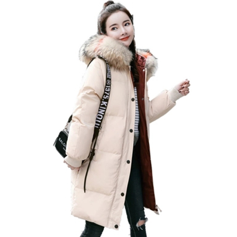 Duck White   Down     Coats   Women Fur Collar Hooded Casual Long Thicken Warm   Down   Jackets Autumn Winter Female   Down   Jackets FP1643