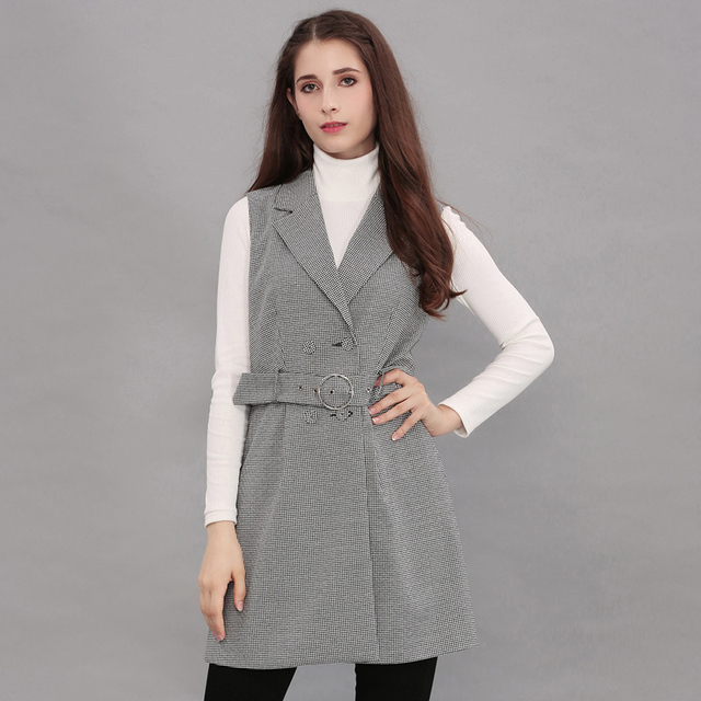 2017 Plaid Long Vest Women Gray Waistcoat Sleeveless Blazer Autumn Slim Formal Vests Women Suit Collar Jackets Coats Belt