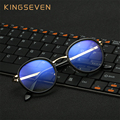 KINGSEVEN New Eyeglasses Frames retro Optical Fashion Design Mens Womens Round Eyewear Glasses PC Computer Radiation Protection