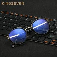 KINGSEVEN Nowy Projektowanie Mody Mężczyzna Kobiet Okrągłe Okulary Optyczne Ramki Okularów retro Okulary PC Komputer Ochrona Przed Promieniowaniem