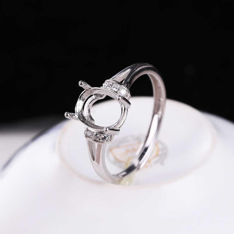 925 เงินสเตอร์ลิงสตรีงานแต่งงานแหวน 7x9 มม. รูปไข่กึ่งแหวนอัญมณีการตั้งค่า