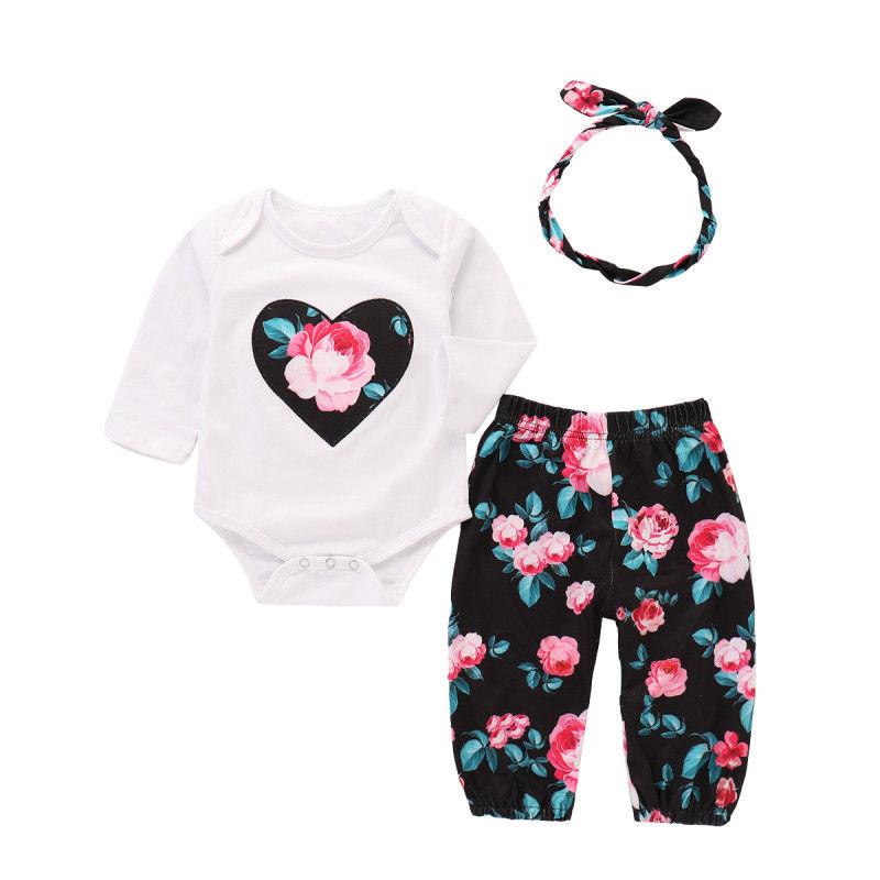0-12 Mt Neugeborenen Baby Mädchen Langarm Herz Floral Baumwolle Strampler Tops + Blume Hose Stirnband Outfits Baby Kleidung Set